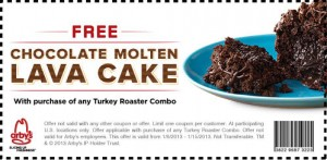 FREE Chocolate Lava Cake Arby's Coupon 2013