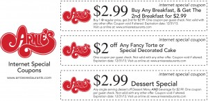 Arnie's Restaurant Internet Special Coupons
