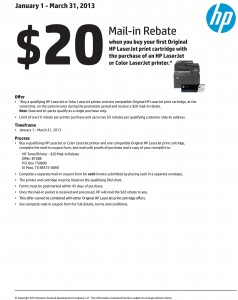 HP $20 rebate with printer and toner buy Mar 2013