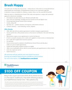 HealthPartners Dental Clinics $100 off coupon 2013.