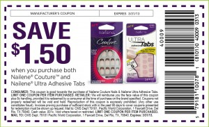 $1.50 OFF Nailene Couture and Ultra Adhesive Tabs Coupon 2013
