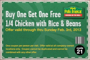 Pollo Tropical Free quarter chicken with rice and beans coupon
