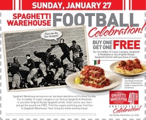Spaghetti Warehouse TODAY only, Buy One Get One Free Coupon