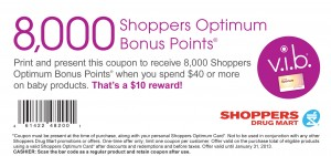 8,000 Bonus Points Coupon at Shoppers Drug Mart