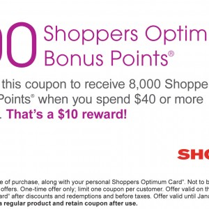Shoppers Drug Mart 8,000 points printable coupon