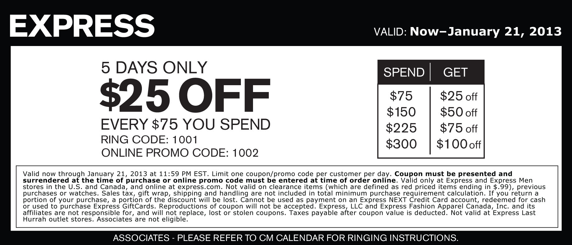 Clothing store printable coupons