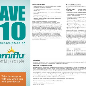 $10 OFF Tamiflu Prescription Coupon