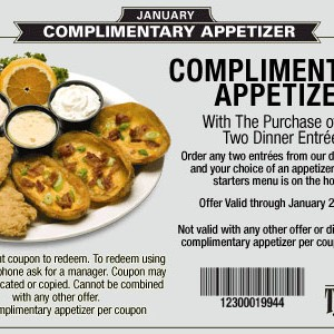 toojays coupon complimentary appetizer free