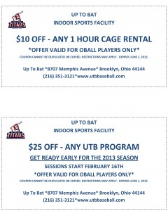 Up To Bat Titans Indoor Sports Facility Coupon