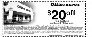 Office Depot $20 OFF Coupon
