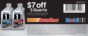 $7 off AutoZone Mobil 1 3 Quarts of Oil Coupon
