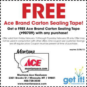 Free ace brand carton sealing tape coupon