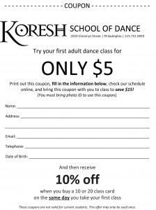 Koresh School Of Dance Free Class Coupon