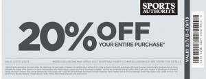 Sports Authority 20% Percent OFF 2013 Purchase