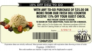 TooJay's Coupon 15 Percent OFF Deli To Go 2013