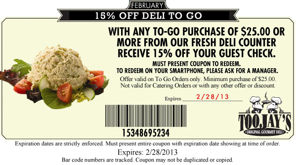 toojay u0026 39 s coupon 15 percent off deli to go 2013