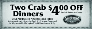 McGrath's Fish House Crab Dinner Coupon