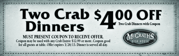 mcgrath 39 s fish house crab dinner coupon print coupon king