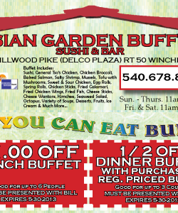 Asian Garden Buffet Sushi Coupons Set
