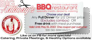 Big Anthonys BBQ Restaurant Coupon