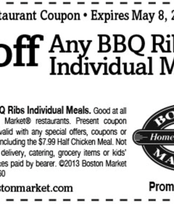 Boston Market Coupon 2013