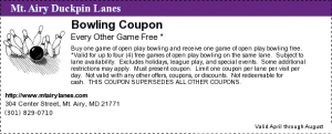 Bowling Coupon Free Game Duckpin Lance