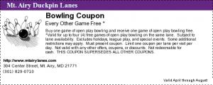 Bowling Coupon Free Game Duckpin Lance