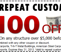 $100 off Carport Coupon