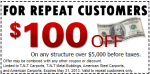 Carport Coupon 100 Dollars off