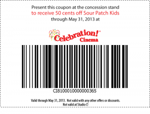 Celebration Cinema Sour Patch Coupon