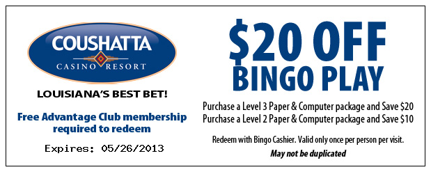 Coupon valid for use at Coushatta Casino Resort