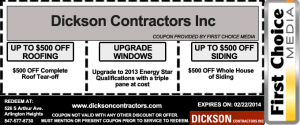 Dickson Contractors Roffing Windows Siding Coupons