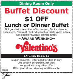 Dinner Buffet Coupon Valentinos
