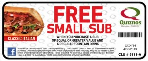 Free Small Sub Quiznos Coupon