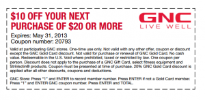 GNC Coupon 10 Dollars Off