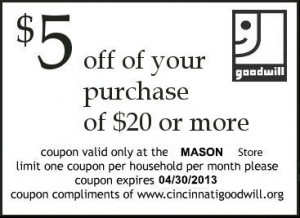 Goodwill Store Coupon 5 Dollars Off