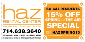 Haz Rental Center Printable Coupon Code