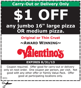 Valentino's pizza coupons