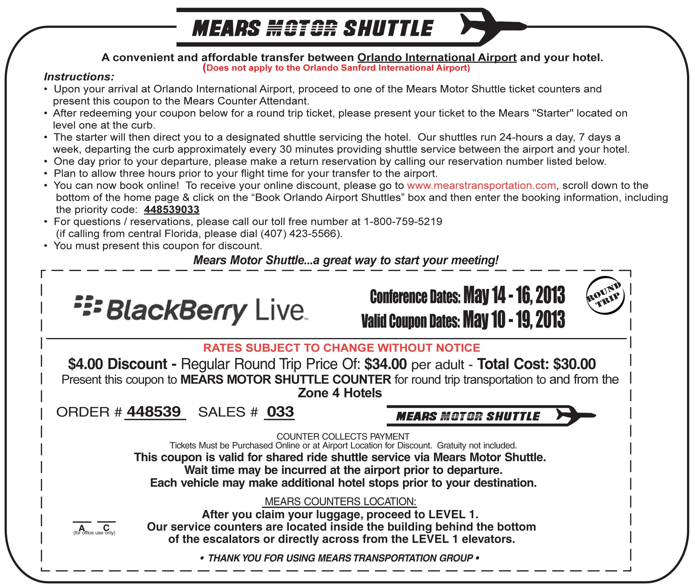 Mears Motor Shuttle Coupon Print Coupon King