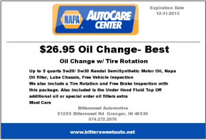 Napa Auto Care Center Oil Change Coupon