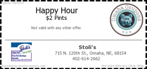 Stolis Happy Hour Pints Coupon