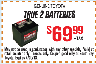 Toyota Oil Change Coupon >> Toyota True 2 Batteries Coupon | Print Coupon King
