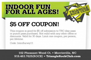 Triangle Rock Club Coupon