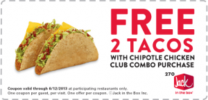 Two FREE Tacos Jack In The Box Coupon