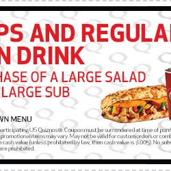 Quiznos Coupon 2013 Free Chips and Drink