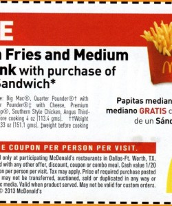 Free Fries and Soda McDonald's Coupon