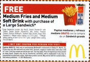 Free Fries and Soda McDonalds Coupon