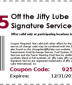 Jiffy Lube Oil Change Coupon 2013