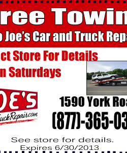 Joe's Car and Truck Repair Free Towing Coupon
