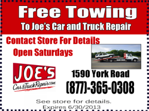 Joes Car and Truck Repair Free Towing Coupon